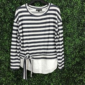 NEW SANCTUARY Stripe Ally Tie-poplin Knit Top XS